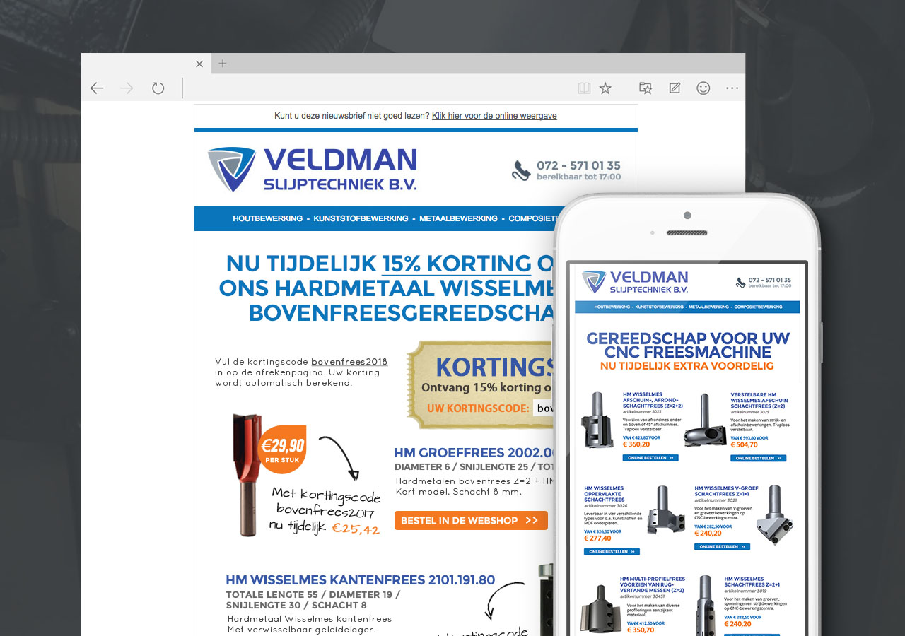 Email nieuwsbrieven voor Veldman Slijptechniek
