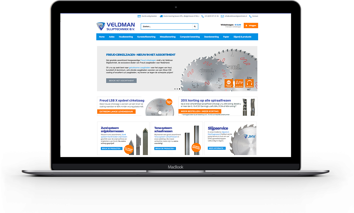 Magento webshop voor Veldman Slijptechniek